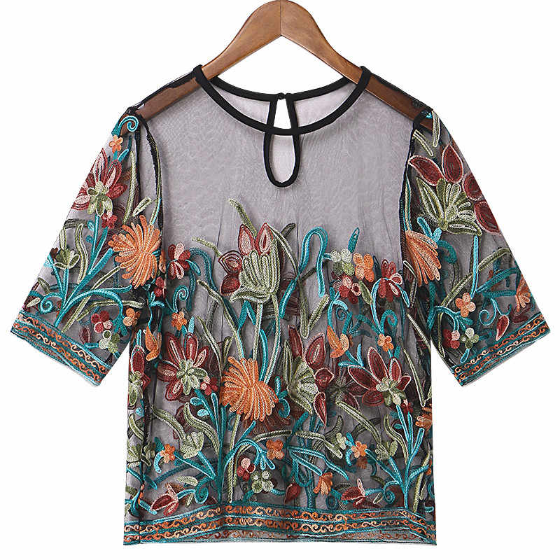ZANZEA Women Tops 2018 Summer Vintage Floral Embroidery Blouses Sexy Mesh  See Through Shirts Short Sleeve 24b1fd231dde