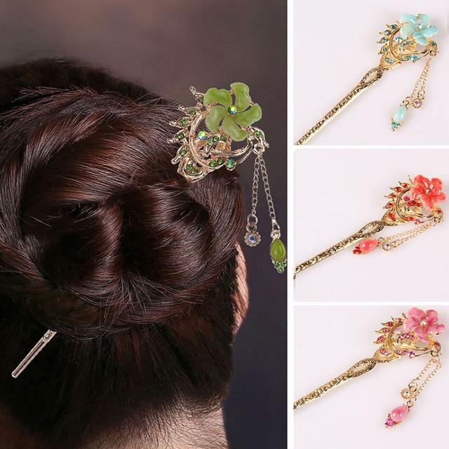 Модные женские волосы палку Бобби Булавки цветок волос Булавки разноцветными стразами Chignon