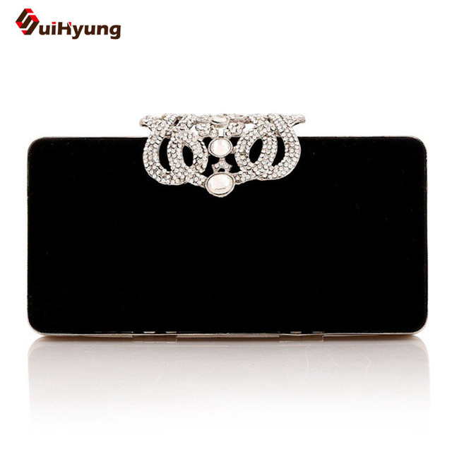 2016 Women Handbag Party Evening Bag Elegant Diamond Crown Buckle Velvet Clutch Wedding Bride Bridesmaids Bag Purse With Chain