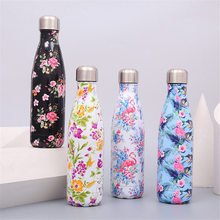 Flamingo Floral Thermos Tea Coffee Water Bottle 500ml Stainless Steel Vacuum Travel Outdoors Portable Insulated Cup