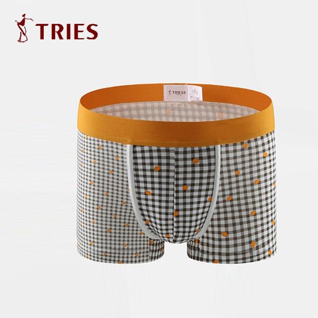 TRIES Male Underwear Brands Hot Sale Men High Quality Shorts Comfortable Panties Men's Underpants lattice pattern Super wide