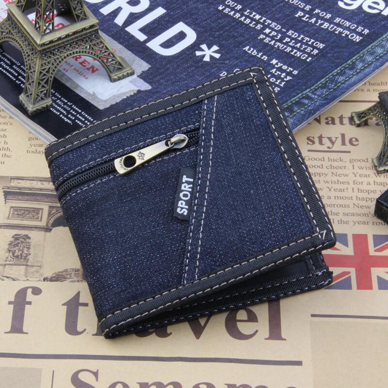 Fabric Wallet Money-Bag Purse Bifold Canvas Best Mens Denim Ultra-Thin Fashion Short