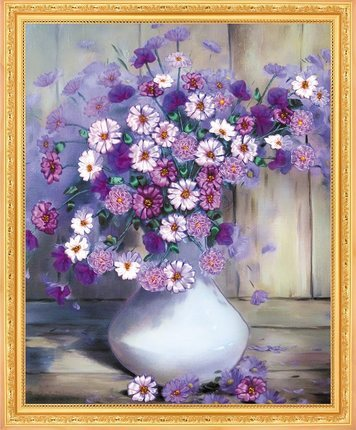 Рукоделие, сделай сам Лента вышивка крестом Наборы для Вышивка комплект, ваза цветок любви ленты Вышивка крестиком Счетный роспись стены домашнего декора