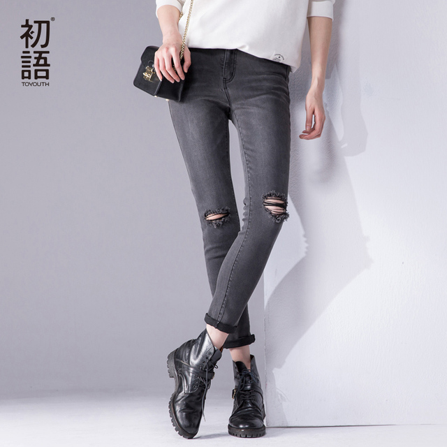 Toyouth Preto Jeans Rasgado Para As Mulheres 2017 Rolling Up Mulher Calças Skinny Calças Slim Para As Mulheres Meados da Cintura das Mulheres Buraco calças de brim