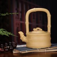 artisans complete manual purple sand pot raw ore gold section bamboo leaf Tiliang tea pot Kungfu tea sets mixed batch