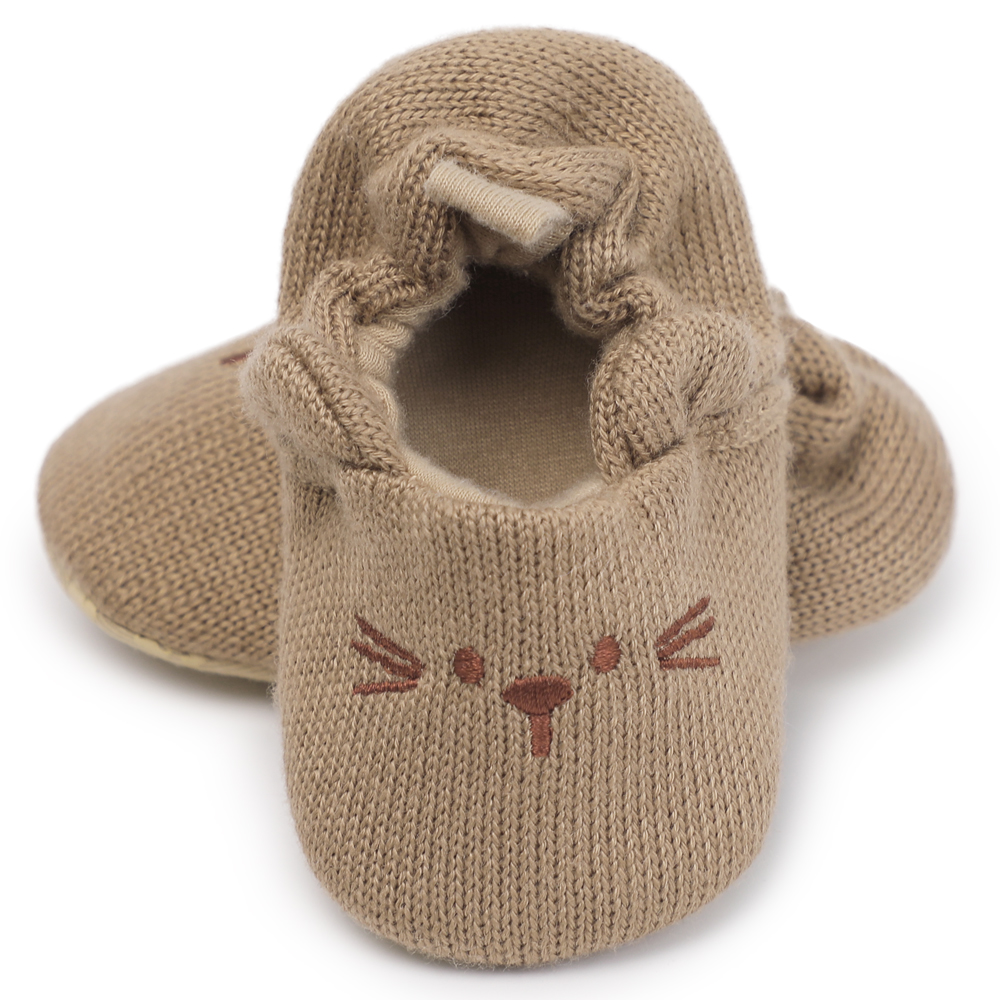 Cute Hot Selling Baby Moccasins Infant Anti-slip Knitted Fir