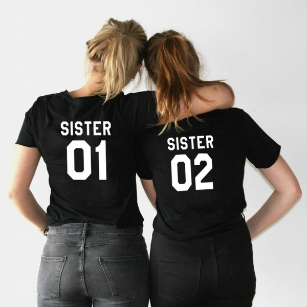 FIXSYS Women Summer T-shirt Best Friends T Shirt SISTER 01 SISTER 02 Print Tee Shirt Short Sleeve Tops Tee Casual Sister Tshirt