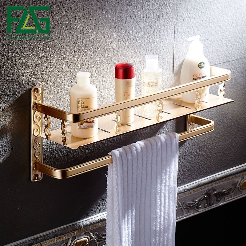 FLG Bathroom Single-Tier Bathroom Storage Rack Wall Mount Bathroom Shelves with Towel Bar free shipping single tier bathroom aluminium shelf with towel bar rack wall mounted kitchen storage organizer shelves 50 12 12cm