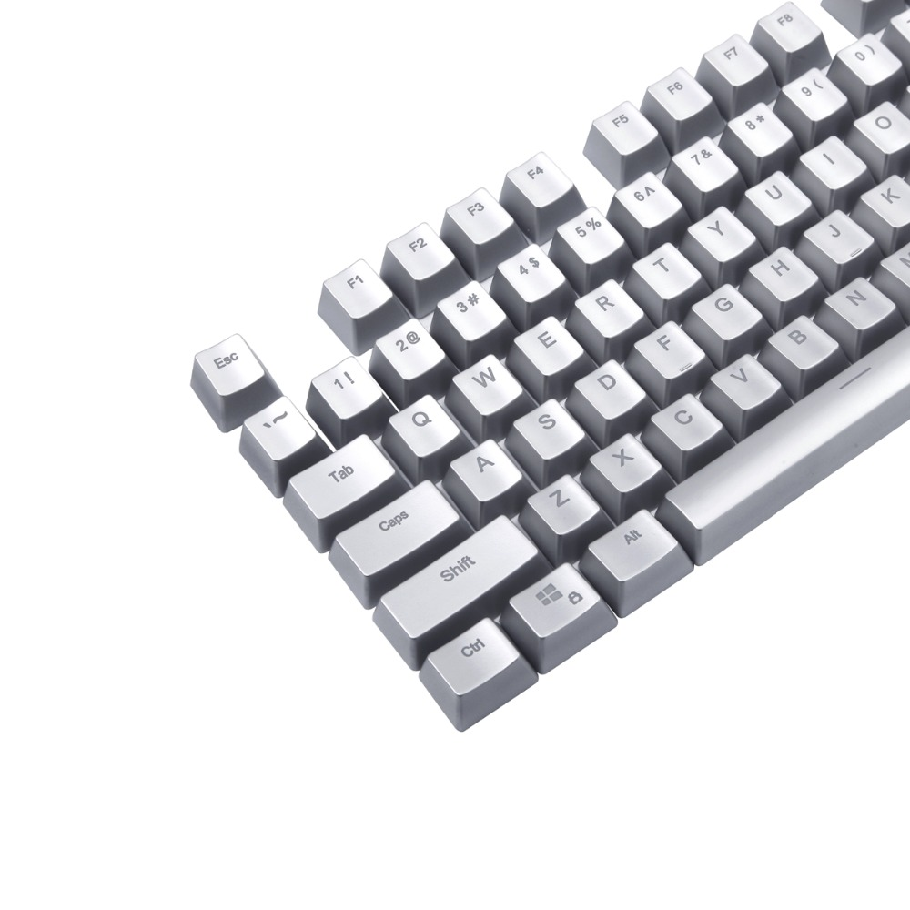 Translucent Backlit Black and Silver Side Metal Plating Keycaps Set for Mechanical Keyboard