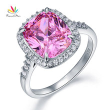 Peacock Star Solid 925 Sterling Silver Luxury Ring 6 Ct Cushion Fancy Pink Created Diamante CFR8150