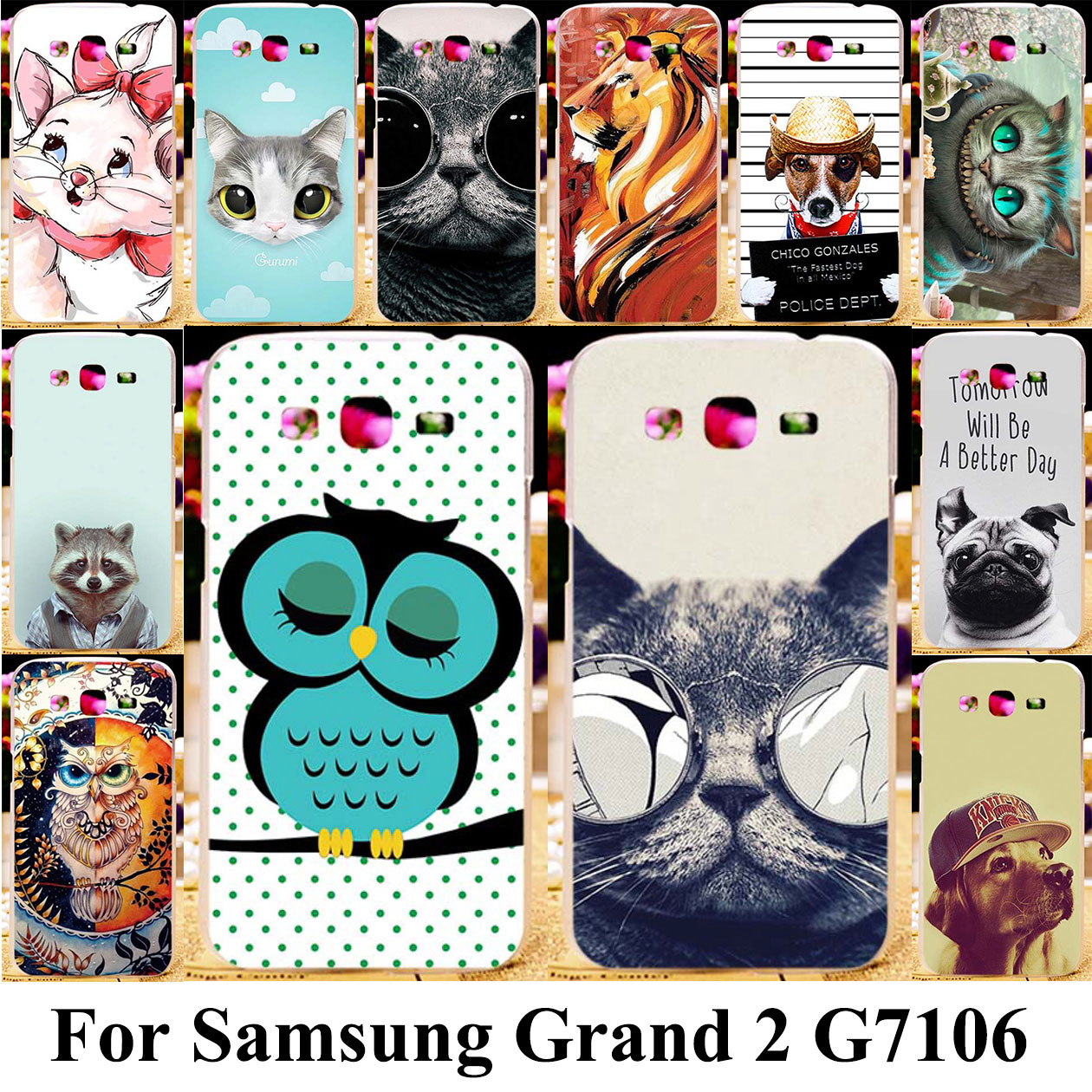 TPU Silicone Plastic Phone Cover <font><b>Case</b></font> For <font><b>Samsung</b></font> Galaxy <font><b>Grand</b></font> <font><b>2</b></font> <font><b>G7102</b></font> G7105 G7106 G7108 G7100 G71S SM-<font><b>G7102</b></font> Cat Bag <font><b>Cases</b></font> image