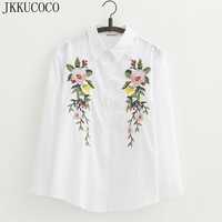JKKUCOCO 2017 Europe Top Hot brand Shirt Women Cotton Floral Embroidery Blouse Long Sleeve Casual Loose shirt Women tops blouse