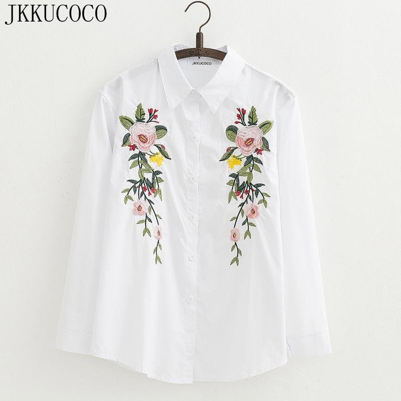 JKKUCOCO 2017 Europe Top Hot marque Chemise Femmes Coton Floral Broderie Blouse À Manches Longues Occasionnel Lâche shirt Femmes tops blouse
