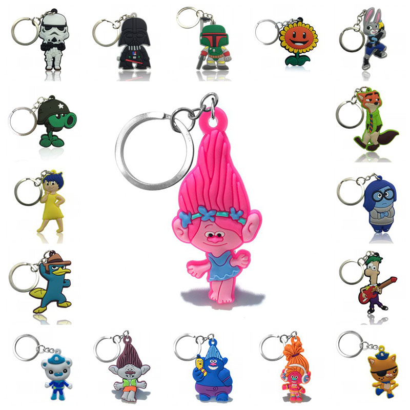 2pcs Keychain Cartoon Figure Start Wars Octonauts Inside Out Trolls Key Chain Lovely PVC Key Ring Kid Toy Pendant Key Holder