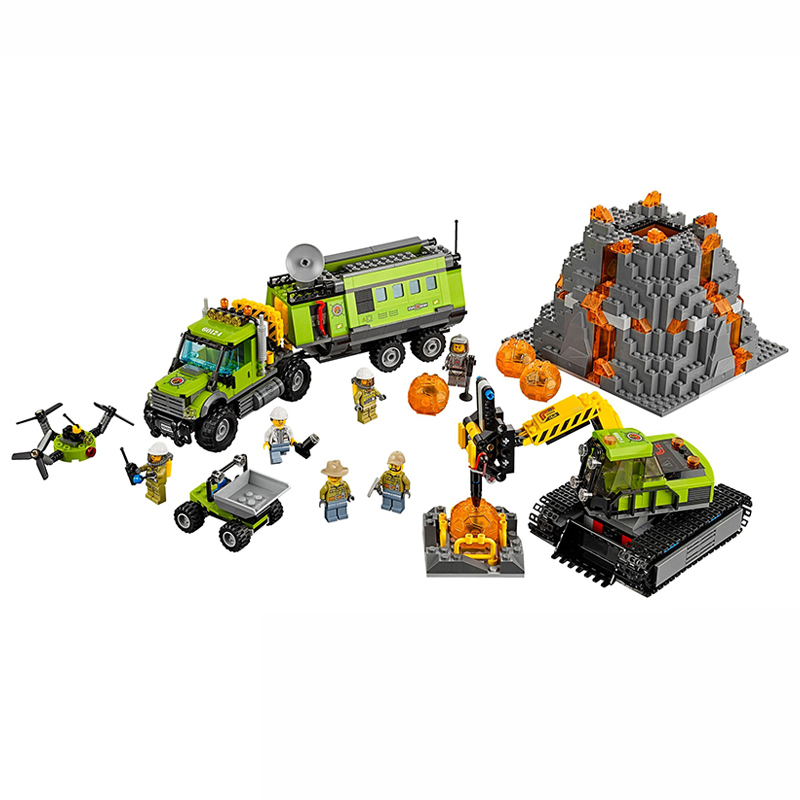 Lepin 02005 City Series The Volcano Exploration Base Truck 60124 Building Blocks Brick Educational Toys For Child Gift Legoingse compatible city lepin 02005 889pcs the volcano exploration base 02005 building blocks policeman educational toys for children