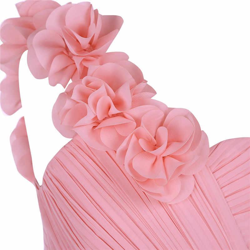 Las chicas de boda de encaje boda Vestido un hombro plisado cintura alta de flor chica vestido de princesa piso longitud vestido de desfile