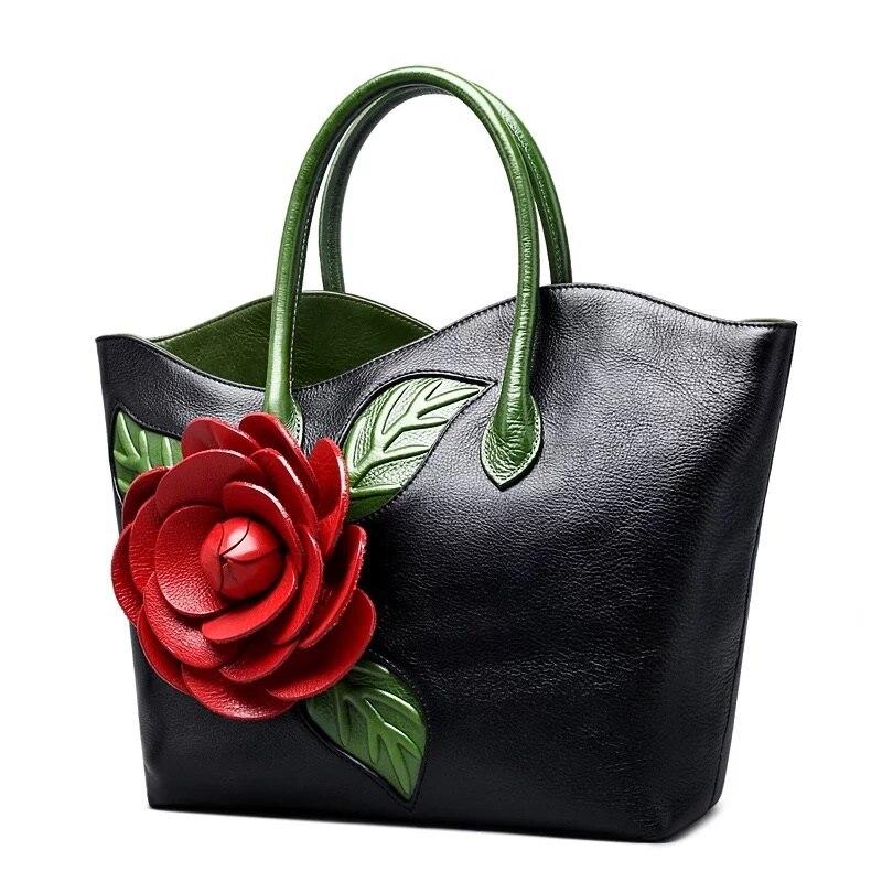 Chinesische Vintage Designer Echtes Kuh Leder 3D Rote Rose Blume frauen Top griff Zehen Tasche Damen Weibliche Schwarz floral Handtasche-in Taschen mit Griff oben aus Gepäck & Taschen bei  Gruppe 3