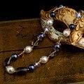 Maxi Collar de Perlas Naturales de la Manera especial Natural de Cristal Azul De La Vendimia Cadena Púrpura Collar de Cadena Larga para Las Mujeres XL141114