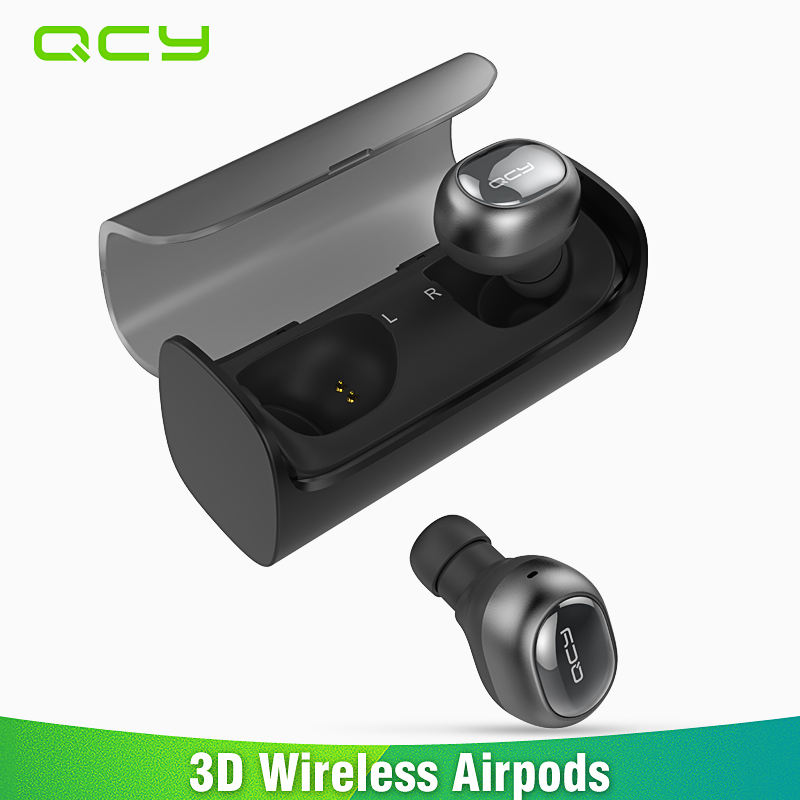 QCY Q29 Mini Dual V4.1 Wireless Earphones Bluetooth Headphones with Charging Case Stereo Music Time Built Mic for all phones PC wireless big headphones high quality bluetooth for cell phones stereo audio foldable earphones tf card music player de112b