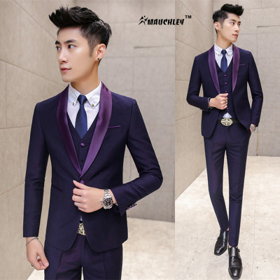 Modern Latest Coat Pant Designs Prom Suits Navy Purple 3 Piece