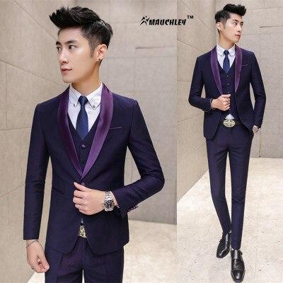 393508fbe6930 Moderno Últimas Bragas de la Capa Diseños Prom Trajes Azul Marino Púrpura 3  Unidades (Jacket + Pants + Vest) Traje de boda Para Hombres Slim Fit  Esmoquin ...