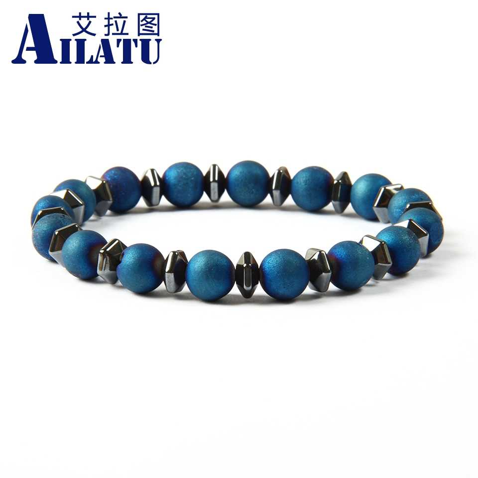 Ailatu Brand Stone Jewelry New Design Openings Laugh Healing Beads Yoga Meditation Bracelet with Onyx and Glass