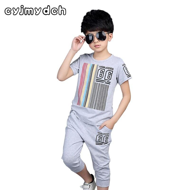 Summer Children Clothing Sets Boys Set Sport Suit Set For Boys 110-150cm Cotton T-Shirt&Pant Kids Boys Clothes Outfit Tracksuit