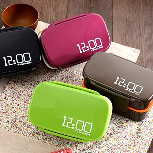 12:00 Clock 2 Layers Bento Lunch Box 1.4L Microwave Boxes Plastic Food Container 9IW5