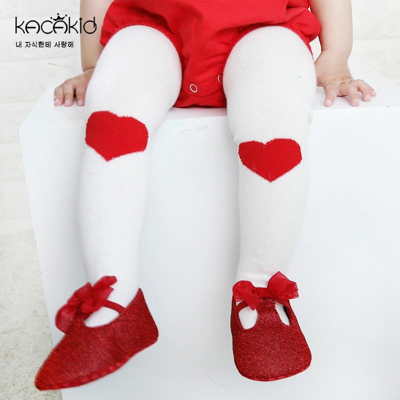 KACAKID Children Girls Tights Pantyhose Lovely Heart Pattern Girls Tights Panyhose Stockings Cotton Comfort Baby Panyhose Ka1215