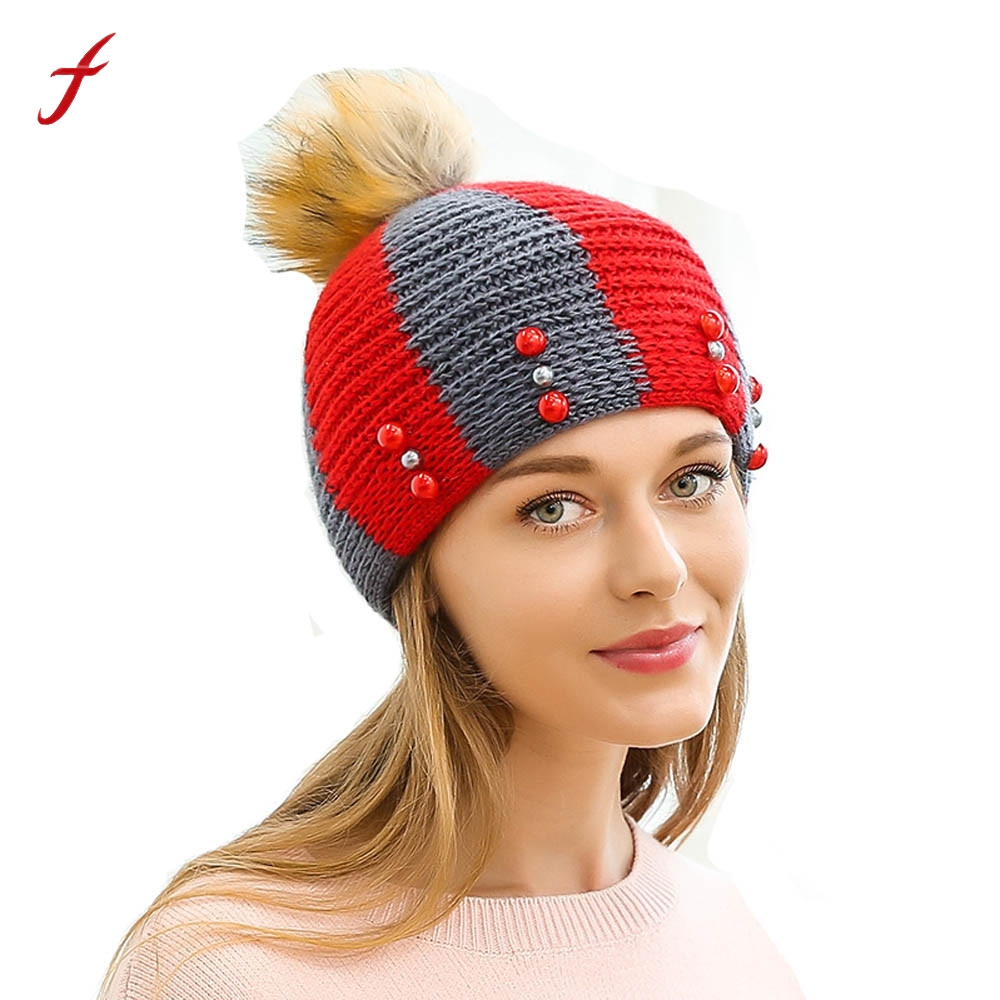 2017 New Fashion Winter Warm Women Ladies Fight Color Pearl Hair Ball Wool Hat Thick Female Cap Casual Comfortable women's hats
