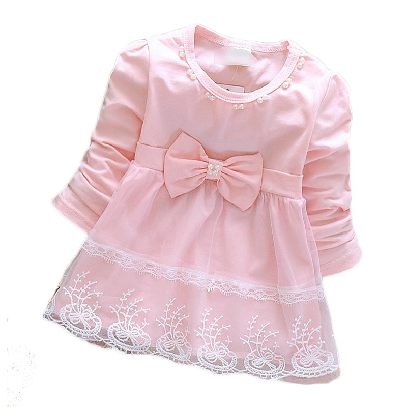 Pink dress newborn sweet princess soft infant new long sleeve lace bow cute baby kids for girls 2018 spring hot sale fashion