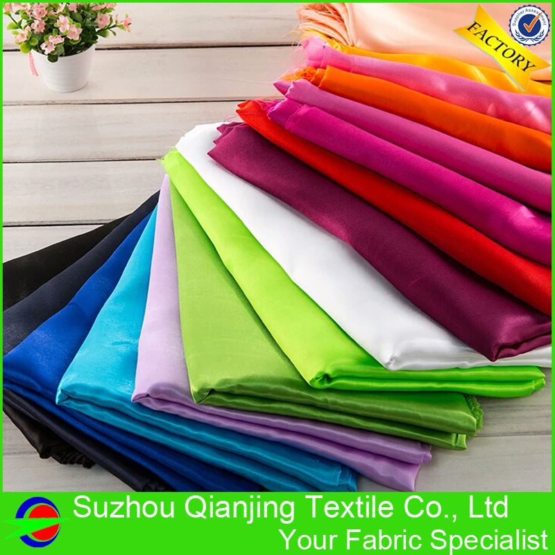Polyester Satin Fabric Glat Soft Shiny Dyed 3 Meter Længde Per Piece For Dress Lining Pyjamas Wedding Party Bag Chair Cover
