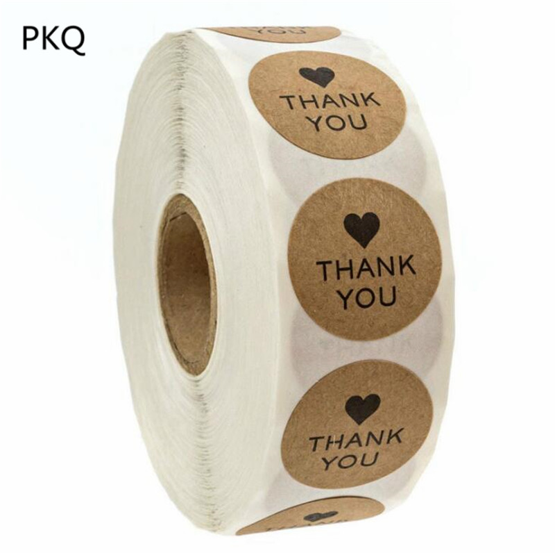 500 Labels/roll Kraft Thank You Stickers Seal Labels Stickers Scrapbooking for Package Wedding Pastry Decoration Sticker(China)