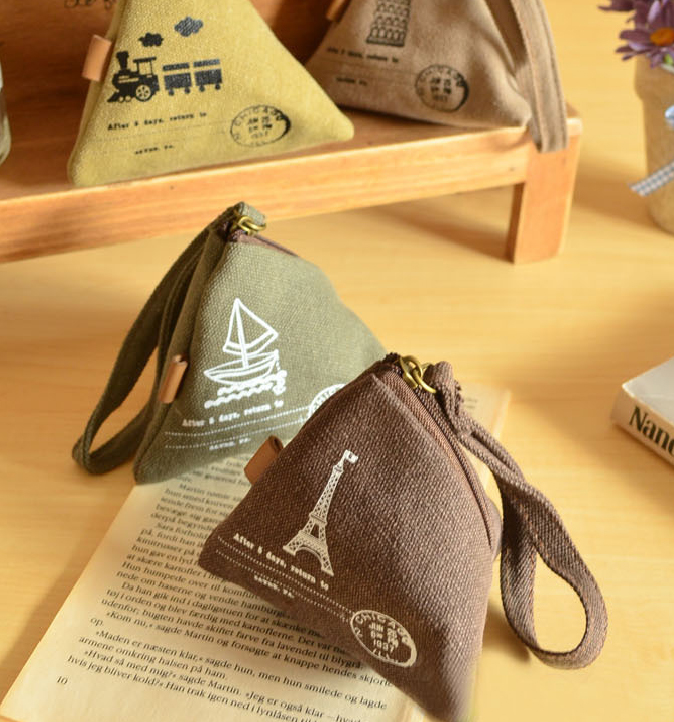 Unisex Canvas Small Wallet Mini Triangle Wallet Coin Purses Clutch Money Bags With Strap Pouch Case