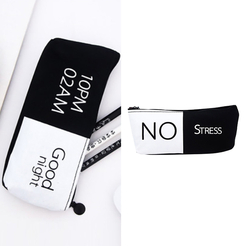 Pencil Case CanvasTravel Organizer Zip Lock Bags White Black Student Pen Pouch Large Capacity Cosmetic Purse Holder Bag F110