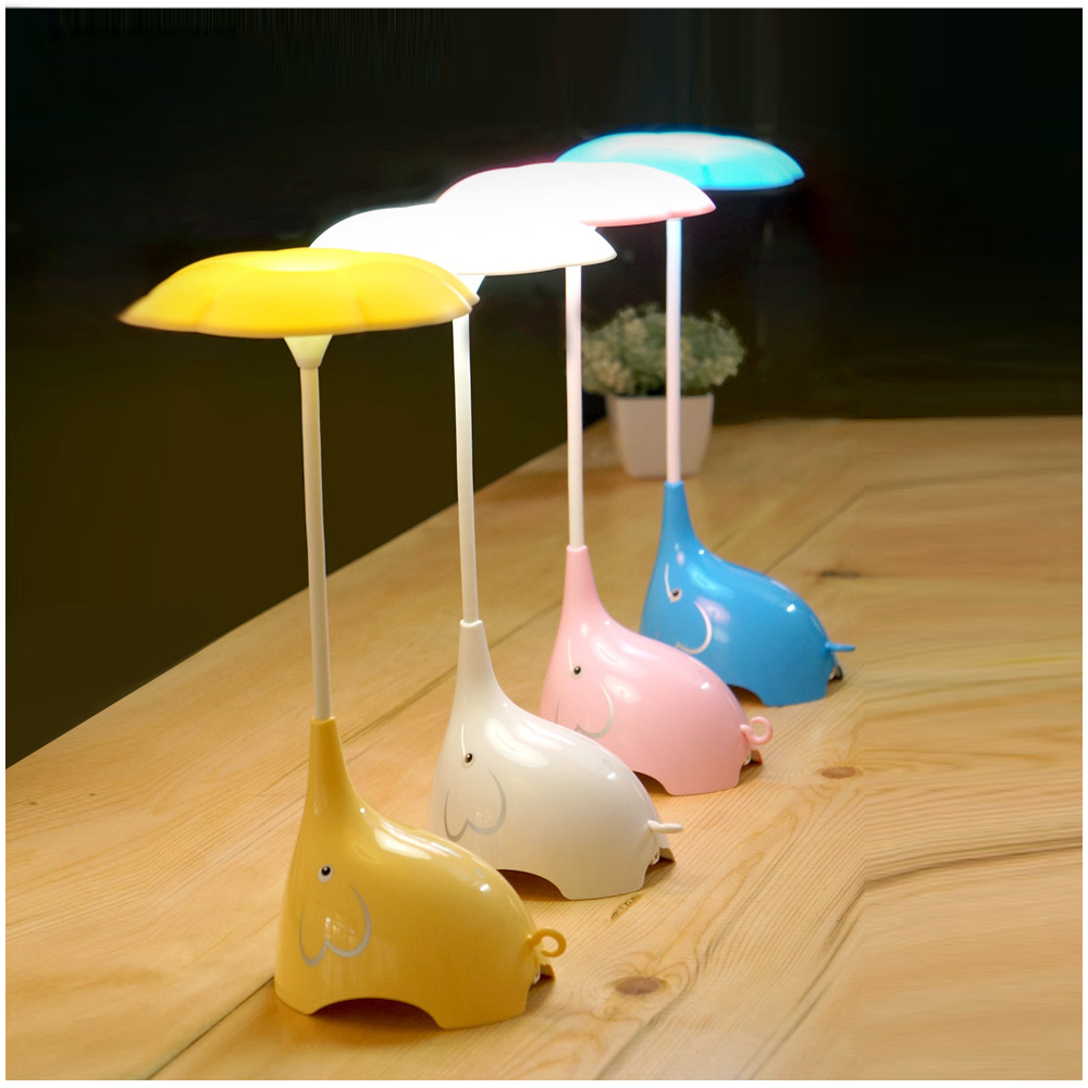 LED Night Light Elephant Desk Table Lamp USB Charging Reading Light Home Bedside lamp For Kids