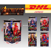 DHL 16Set/Lot Avenger Captain America Iron ManThor Spider Man With Sound With LED Light 4Pcs/Set Action Figure Model Toy W57