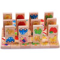 28 pièces bébé en bois Domino bloc jouets dessin animé jardin Animal véhicule fruits Domino blocs jouets blocs de construction éducatif correspondant