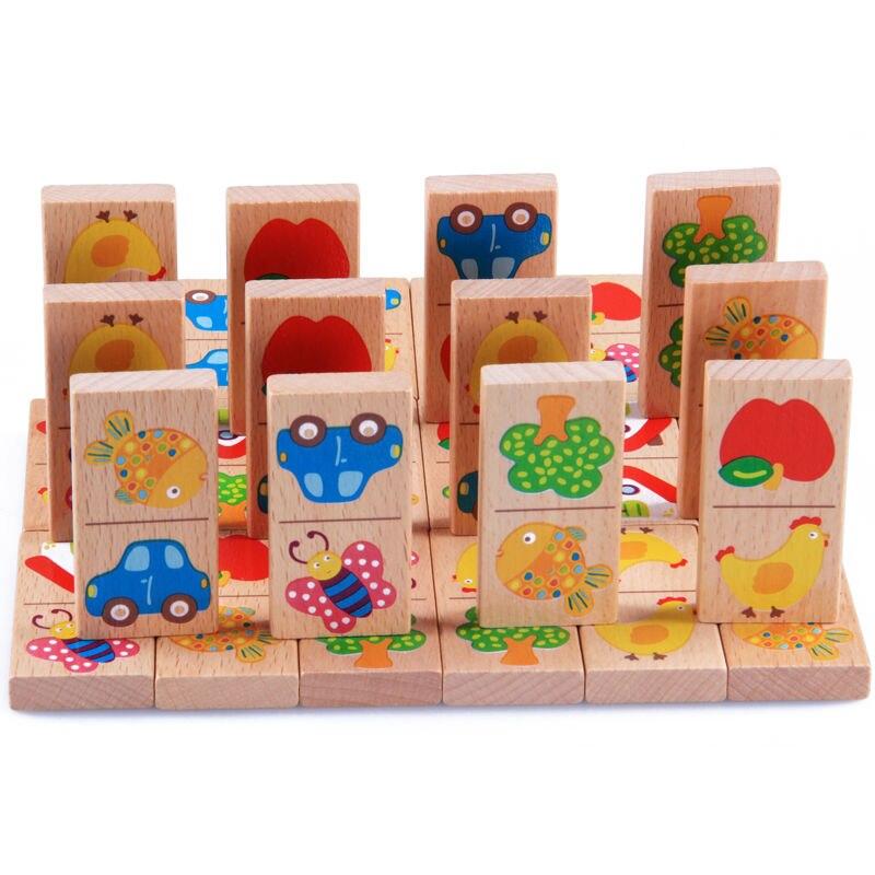 28 piezas bloques de dominó de madera para bebé juguetes de dibujos animados de animales de jardín Vehículo de frutas Domino bloques de construcción juguetes educativos a juego