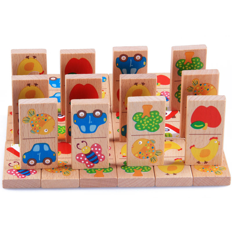 28pcs Baby Wooden Domino Block Toys Cartoon Garden Animal Vehicle Fruit Domino Blocks Toys Building Blocks Educational Matching