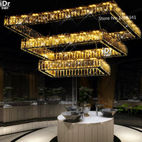 Living room chandeliers simple led lamp creative restaurant Villa personalized crystal chandelier hanging rectangular lights