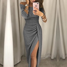 2018 new fashion lady sexy one-shoulder dress autumn long-sleeved knee-length dress(China)