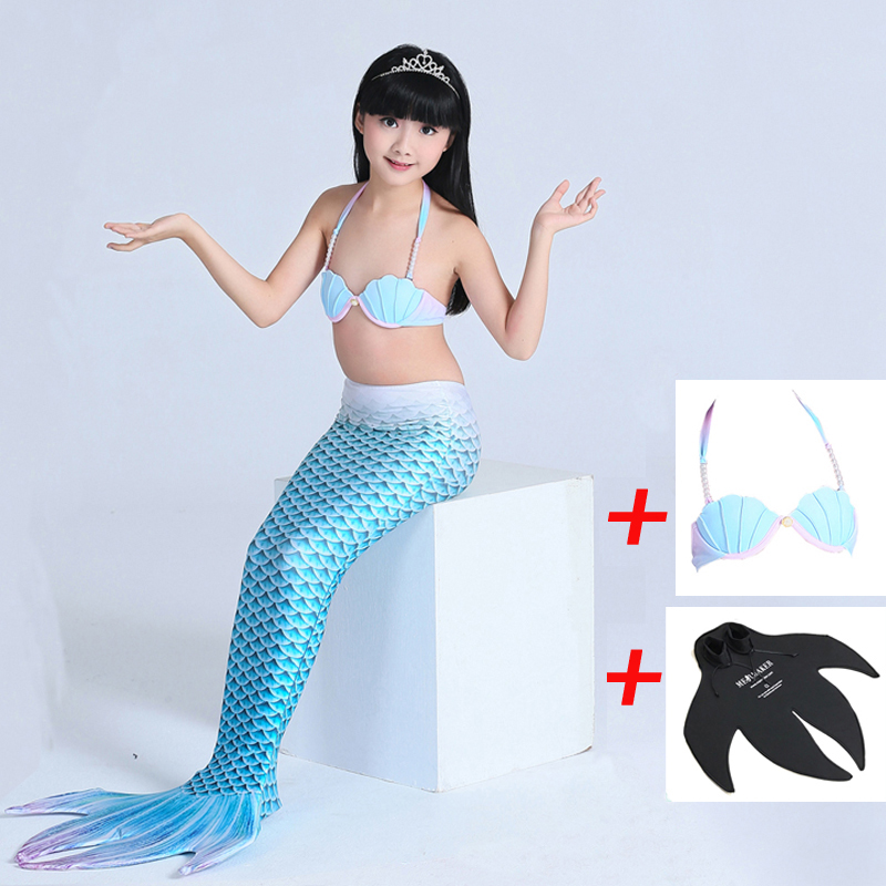 2018 Children Mermaid Tail With Monofin For Girls Swimming Cospaly Costume Swimmable Swimsuit 3pcs/set(Top+mermaid tail+monofin) kids mermaid tail with monofin swimmable filpper costume for girls lady mermaid tails cosplay the little mermaid child clothes