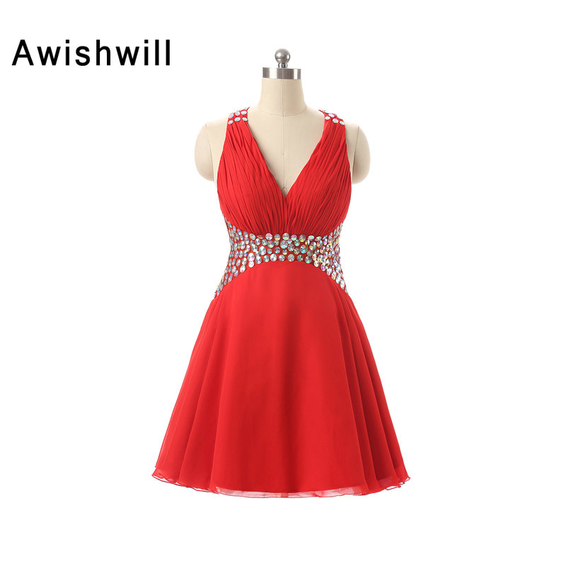 Robe de   Cocktail   Red Color Short Mini Party   Dress   V-neck Beaded Chiffon Cross Back Homecoming   Dress     Cocktail     Dresses   2019 Sexy