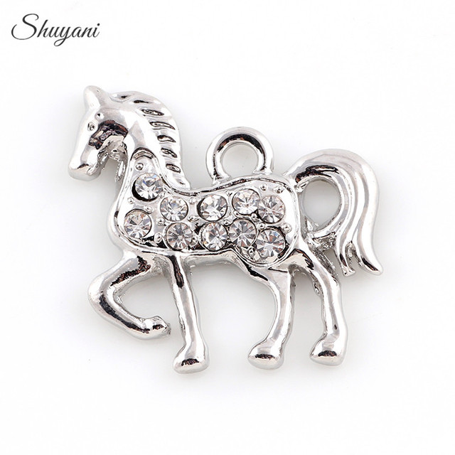 20 23mm Metal Silver Gold Color Horse Charms Rhinestone Crystal Pendant For