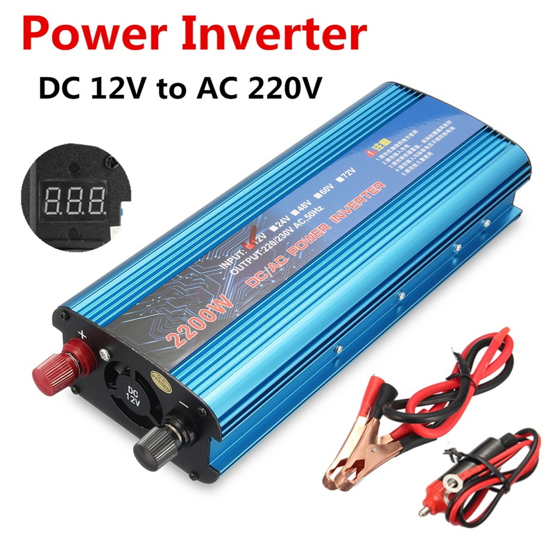 Newest DC12V to AC220V 2200W Adapter Converter LCD Digital Display Power Inverter Charger Vehicle Power Supply Switch With USB car usb sd aux adapter digital music changer mp3 converter for skoda octavia 2007 2011 fits select oem radios