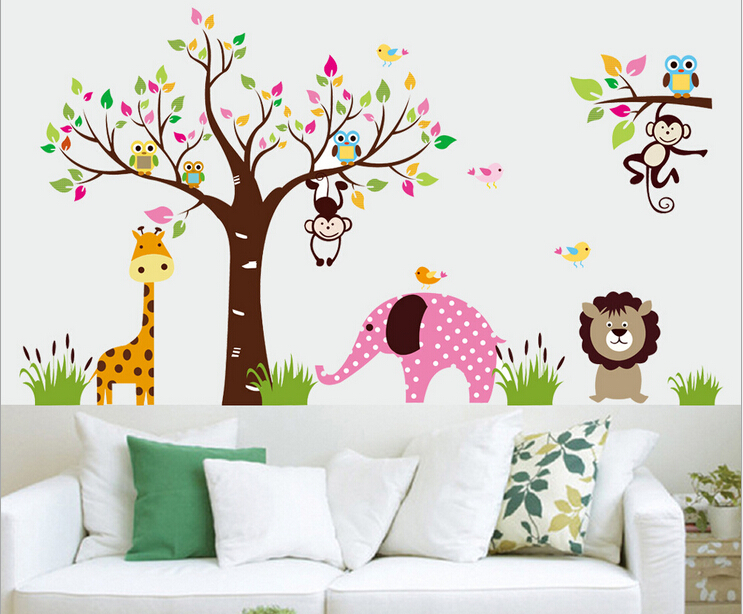 DIY Wall Stickers Animal In The Zoo Self Adhesive Plastic Puzzle - Educational wall decals