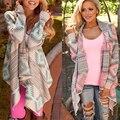 2017 Autumn Winter Fashion Women Tops Sweaters Cardigan Coat Asymmetrical Irregular Printed Collarless Long Sleeve Loose Blouse