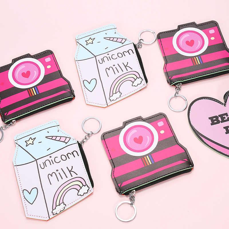 2 pc Câmera Garrafa Criativo Mulheres Coin Purse Bonito Fita de Couro Chaveiro Titular Do Cartão Carteira Pequena Bolsa Para As Meninas Mini bolsa da mudança