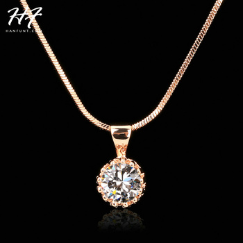 Top Quality Fashion Crown Pendant Necklace for Women Retro Vintage Classic Rose Gold Color Cubic Zircon Stone Jewelry N390 1